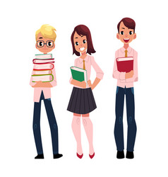 Three students pupils school kids with books vector
