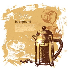 Hand drawn vintage coffee background vector