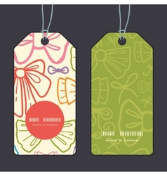 Colorful bows vertical round frame pattern tags vector