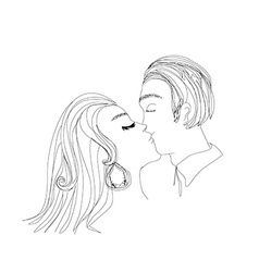 Portrait of young couple kissing vector