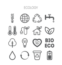 Set of simple monochromatic ecology icons vector