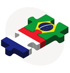 France and brazil flags in puzzle vector