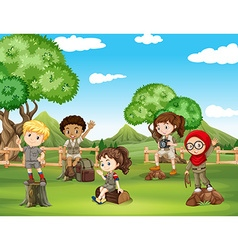Children having fun in the field vector