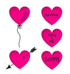 Valentines day heart stickers with doodle titles vector