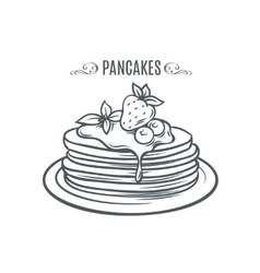 Hand drawn pancakes with strawberries and syrup vector