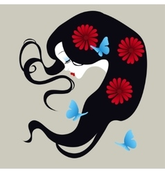 Beautiful silhouette of a girl with flowers in her vector