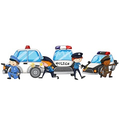 Policeman with gun by the police cars vector