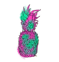 Colorful paint summer pineapple vector