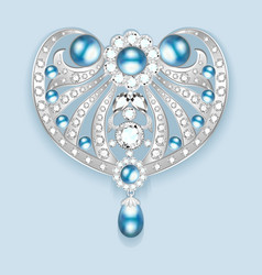 Brooch with pearls and precious stones filigree vector