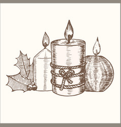 Candles group hand draw sketch vector