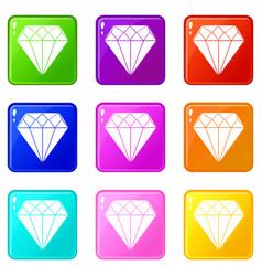 diamond set 9 vector image vector image
