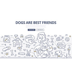Dogs care doodle concept vector