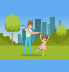 father playing hide and seek with his daughter in vector image