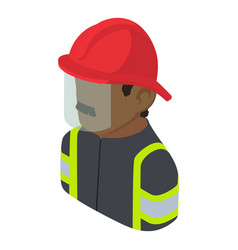 Firefighter man african american icon isometric vector