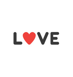 flat design style concept of love text with vector image