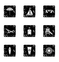 Holiday in miami icons set grunge style vector
