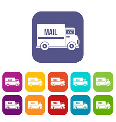 mail truck icons set flat vector image vector image