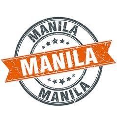 Manila red round grunge vintage ribbon stamp vector