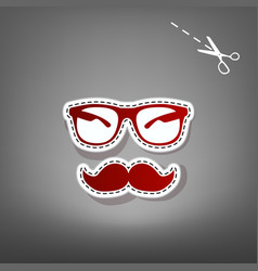 Mustache and glasses sign red icon with vector
