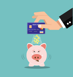 piggy with creditcard vector image