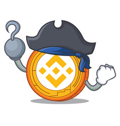Pirate binance coin character catoon vector