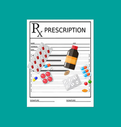 Rx prescription blank with pills and drugs vector