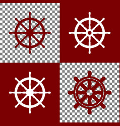 Ship wheel sign bordo and white icons and vector