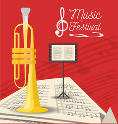 Trumpet instrument with music sheets vector