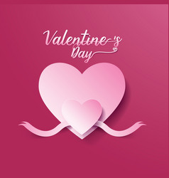 Valentines day abstract background heart and ribbo vector