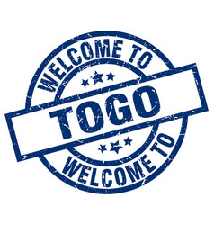 Welcome to togo blue stamp vector