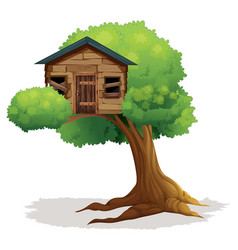 wooden treehouse on the tree vector image vector image
