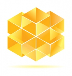 yellow cube design vector image vector image