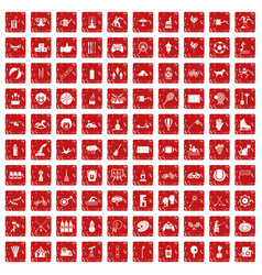 100 kids activity icons set grunge red vector image vector image