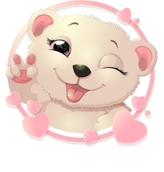 bear surrounded by hearts vector image