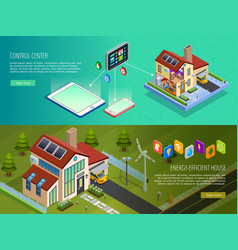 Smart Home Control 2 Isometric Banners vector image