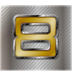 Metallic number eight vector image