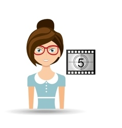 Beautiful girl concept cinema movie counting strip vector