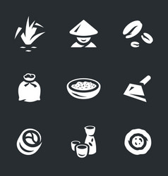 set of rice icons vector image