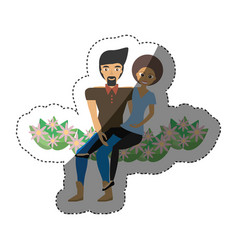 Cute couple sitting flowers decoration shadow vector