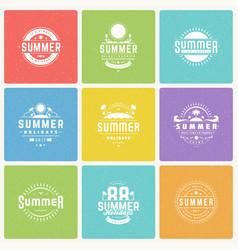 Summer holidays design elements and typography vector