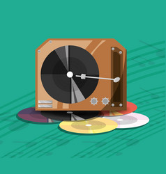 Turntable music with vinyl record vector
