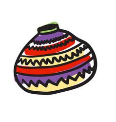 African ceramic jug hand drawn icon vector