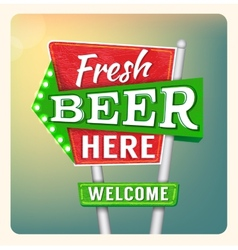 Retro Neon Sign Beer vector image