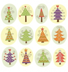 Cute christmas trees vector