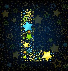 Letter l cartoon star colored vector
