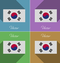 Flags korea south set of colors flat design and vector