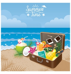 Suitcase with summer objects on the beach vector