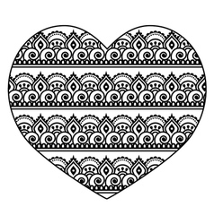 Mehndi indian henna tattoo heart seamless pattern vector