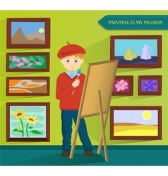 Male artist painting in his workroom vector