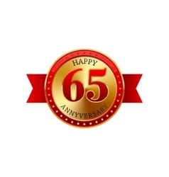 65 years anniversary golden label with ribbons vector image